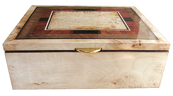 Burley maple box front - Handcrafted large wood decorarive keepsake box