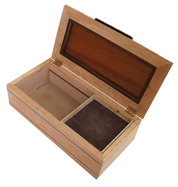 Handcrafted decorative wood box open view