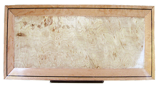 Maple burl framed in birds eye maple box top - Handcrafted wood decorative keepsake box