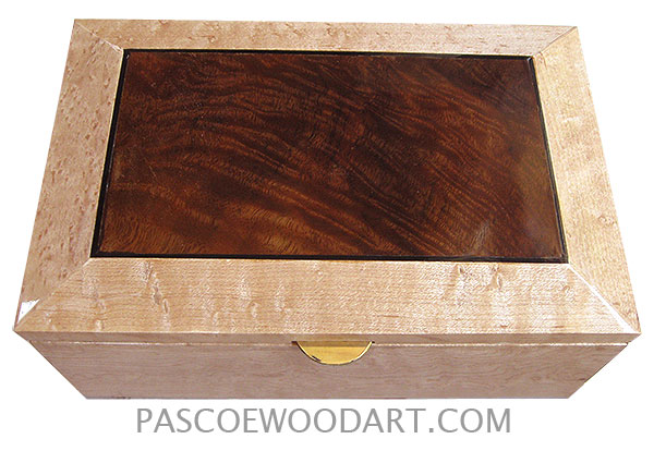 Handmade wood box - Decorative wood keepsake box made of birds eye maple with walnut center top