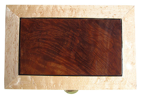 Walnut center piece framed in birds eye maple box top - Handmade wood box - Decorative wood keepsake box