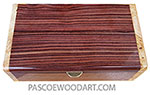 Handmade wood box - Decorative wood keepsake box made of Brazilian kingwood with maple burl ends