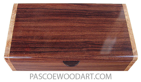 Handmade wood box - Decorative wood keepsake made of Santos rosewood with maple burl ends