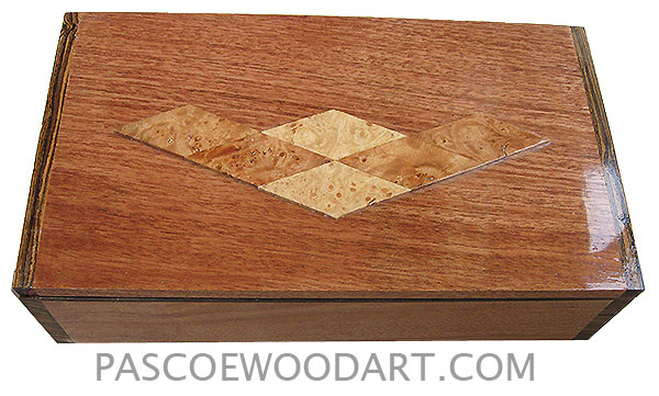 Handmade wood box - Decorative wood keepsake box made of mahogany with bocote ends with maple burl diamond pattern design on top