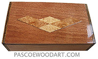 Handmade wood box - Decorative wood keepsake box made of mahogany wi bocote ends wi top wi maple burl diamond pattern