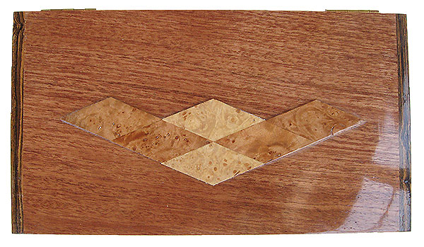 Mahogany box top with maple burl diamond pattern design - Handmade decorative wood keepsake box