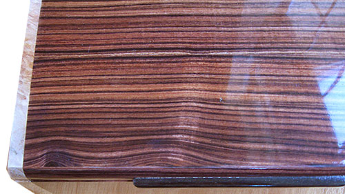 Brazilian kingwood box top close up - Handmade wood box