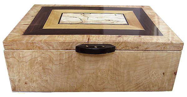 Figured maple burl box top - Handmade decorative wood keepsake box