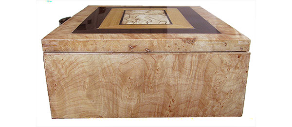 Figured maple burl box end - Handmade decorative wood keepsake box