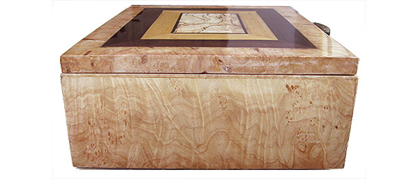 Figured maple burl box end - Handmade wood decorative keepsake box