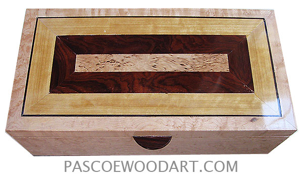 Handcrafted wood box - Decorative wood keepsake box made of bird's eye maple with mosaic top of masur birch, African blackwood, Ceylon satinwood