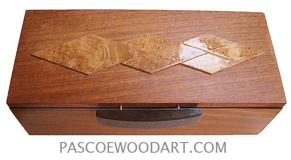 Handmade wood box - Decorative wood keepsake box made of African mahogany with cocobolo handle and maple burl design on top