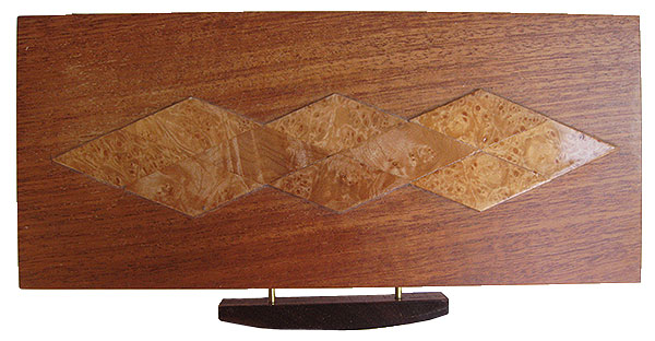 African mahogany box top with maple burl design - Decorative wood keepsake box