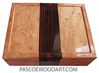 Handcrafted wood box - Decorative wood keepsake box made of maple burl with cocobolo