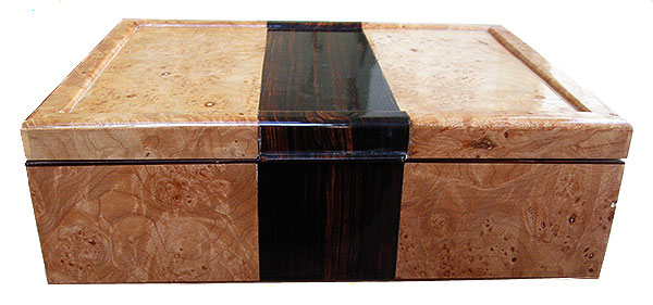Maple burl box front with cocobolo -Handmade decorative wood box