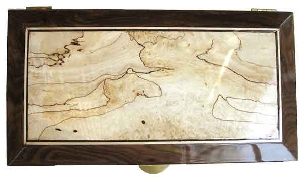 Spalted maple framed in beveled ziricote box top - Handmade decorative wood keepsake box