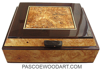 Handcrafted wood box - Decorative wood keepsake box made of burly maple with spalted maple center framed in ebony and burly maple