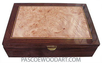 Handmade wood box - Keepsake made of Madagascar rosewood with maple burl center top