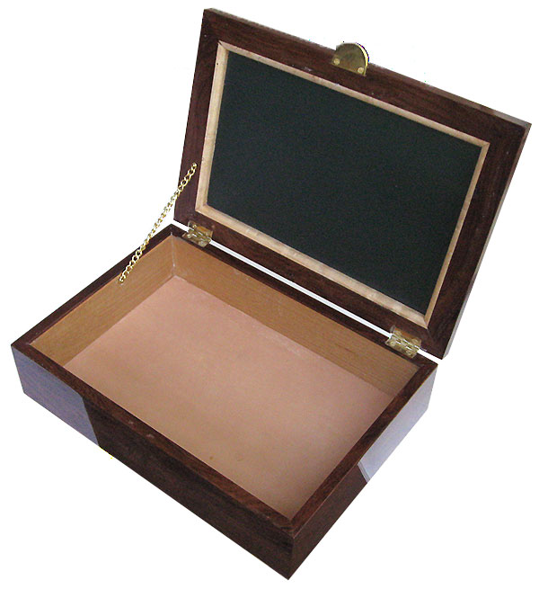Handmade wood box - keepsake box open view