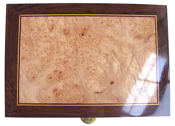 Maple burl center box top - Handmade wood keepsake box made of madagascar rosewood
