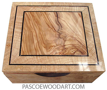 Handmade wood box - Keepsake box made of maple burl with Mediterranean olive center framed in maple burl top