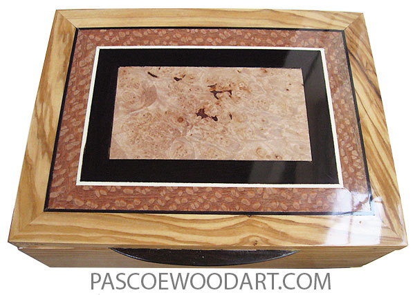 Handmade wood box - Decorative keepsake box made of Mediterranean olive with maple burl center framed in Afriacan blackwood and lacewod top