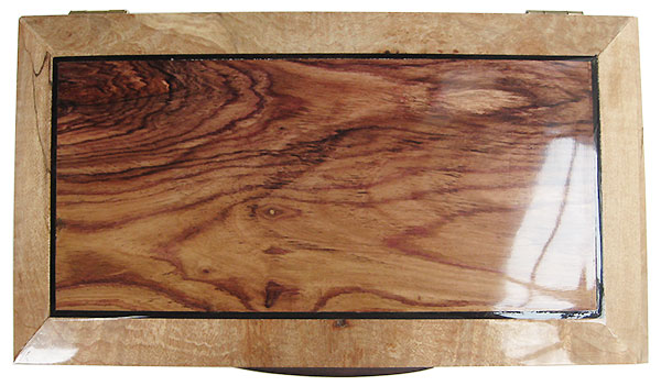 Handmade wood box - Decorative keepsake box made of spalted maple burl with Honduras rosewood top