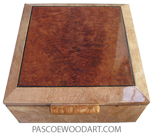 Handcrafted wood box - Decorative wood keepsake box made of maple burl with redwood burl center top