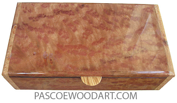 Handcrafted wood box - Decorative keepsake box made of camphor burl with maple burl ends.