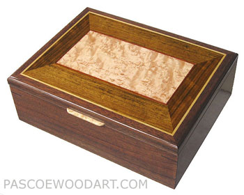 Handcrafted wood box - Decorative keepsake box made of walnut with shedua, bird's eye maple inlaid top
