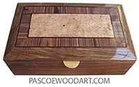 Handcrafted wood box - Decorative keepsake box made of Santos rosewood with beveled top of maple burl center framed in Brazilian kingwood with ebony stringing