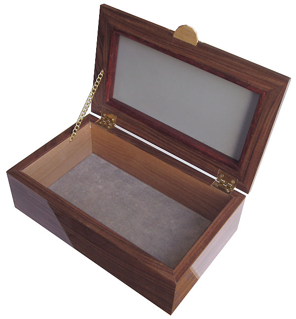 Handcrafted wood box  open view