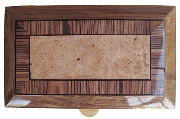 Maple burl center framed in Brazilian kingwood with ebony stringing beveled box top - Handcrafted wood box, keepsake box