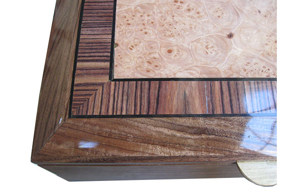 Maple burl center framed in Brazilian kingwood with ebony stringing beveled box top - close up - Handcrafted wood box