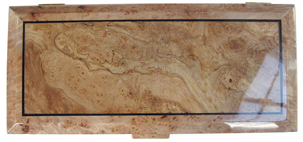 Spalted maple burl center framed in maple burl beveled box top - Handcrafted wood box, keepsake box