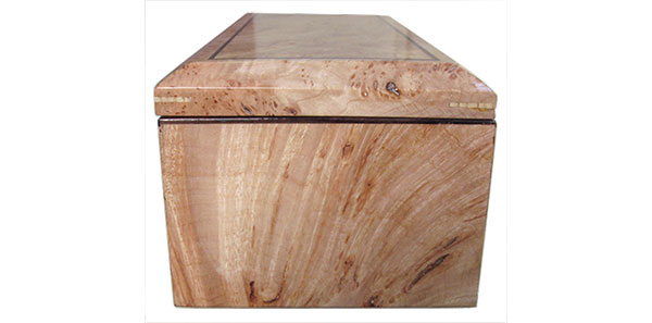 Maple burl box side - Handcrafted wood box