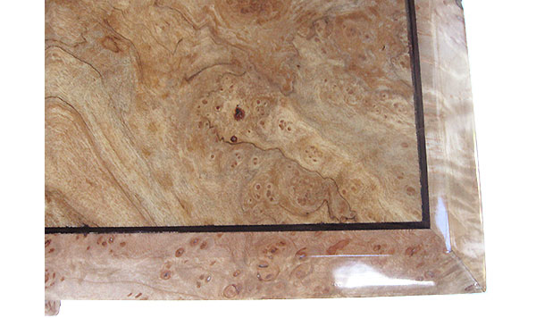Spalted maple burl center framed in  maple burl beveled box top close up - Handcrafted wood box