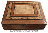 Handcrafted wood box - Keepsake box made of bird's eye redwood burl with beveled top of Mediterranean olive, lacewood, maple burl.