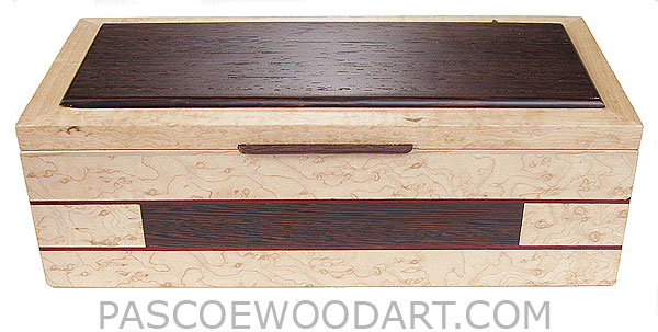 Handcrafted wood box - Decorative wood keepsake box made of birds eye maple with wenge accents