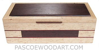 Handcrafted wood box - Decorative wood keepsake box made of bird's eye maple with wenge accents