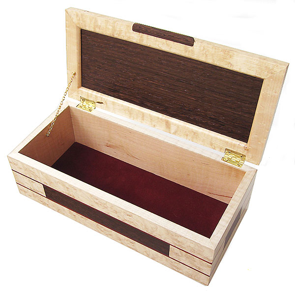 Decorative wood keepsake box - open view