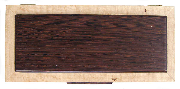 Wenge box top Handcrafted decorative wood keepsake box made of birds eye maple, wenge