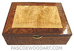 Handcrafted wood box - Decorative wood keepsake box made of camphor burl, maple burl, Honduras rosewood