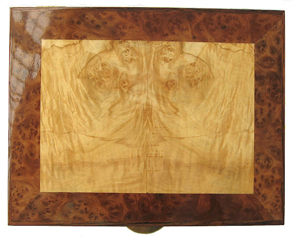 Maple burl inlaid camphor burl box top - Handcrafted decorative wood  keepsake box