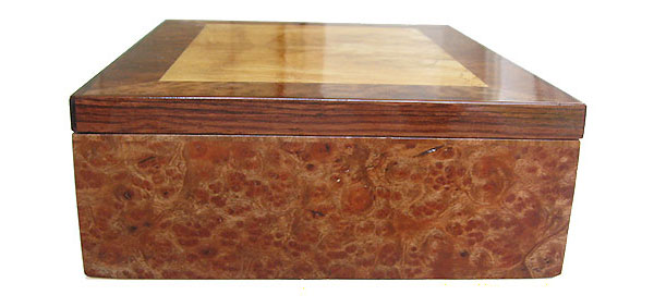 Camphor burl box side - Handcrafted wood decorative  keepsake box