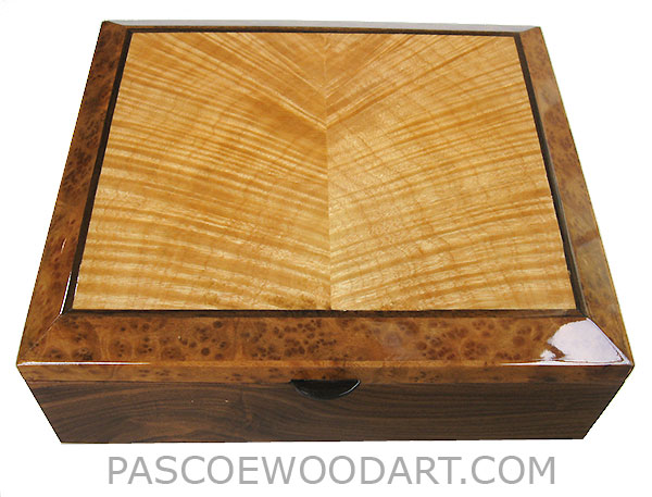 Handcrafted wood box - Decorative wood keepsake box made of Santos rosewood with camphor burl with flame maple inlay