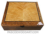 Handcrafted wood box - Decorative wood keepsake box made of Santos rosewood with flame maple inlaid camphor burl top