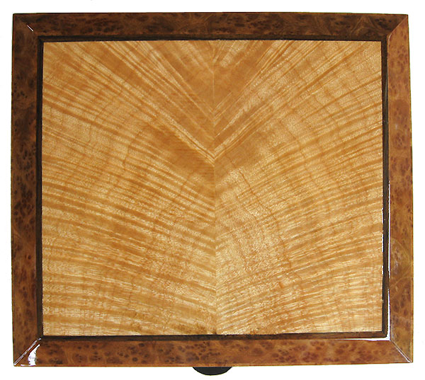 Flame maple inlaid cahmphor burl box top - Handcrafted decorative wood keepsake box
