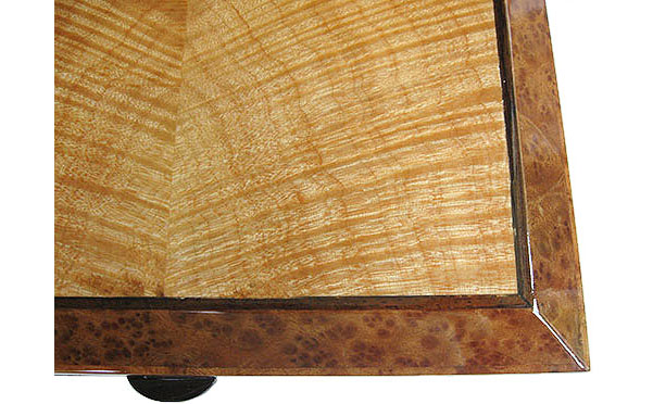 Flame maple inlaid camphor burl box top close-up - handcrafted decorative wood box