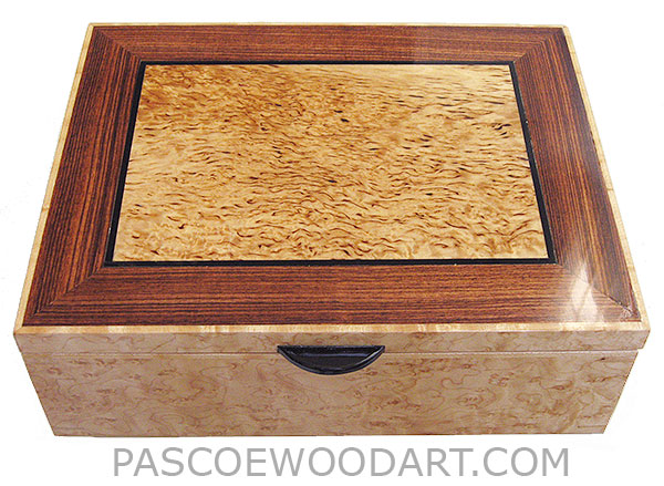 Handcrafted wood box - Decorative wood keepsake box made of bird's eye maple with masur birch framed in Brazilian kingwood top